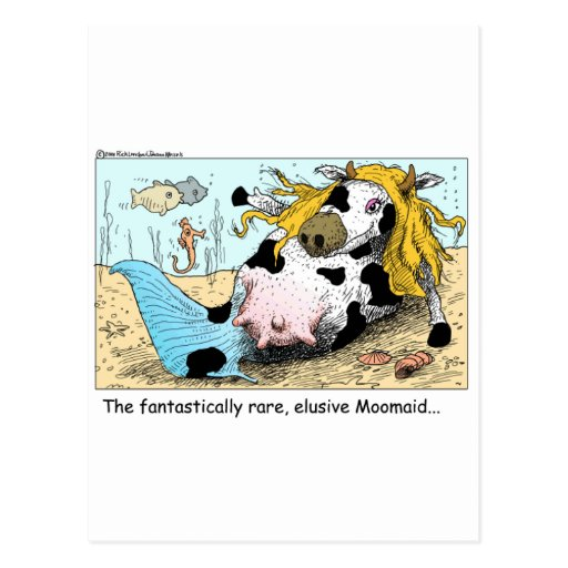 Moomaid Funny Cow Cartoon Gifts Tees Collectibles Post Card