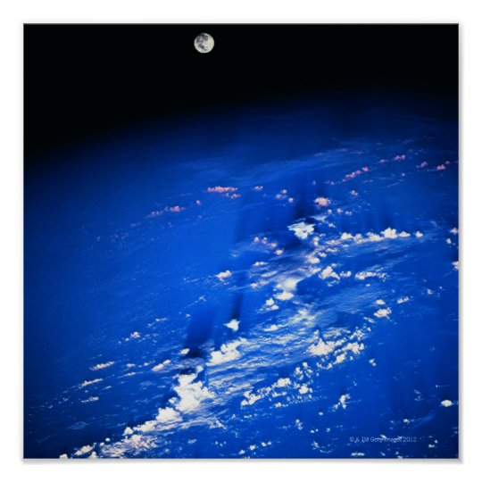 Moon above Earth Poster