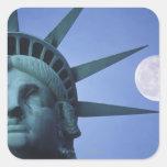 Moon Above Statue Square Sticker