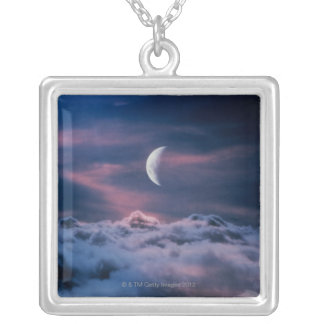 Moon above the clouds silver plated necklace