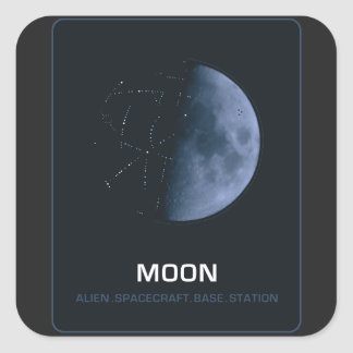 MOON, Alien. Spacecraft. Base. Station Square Sticker