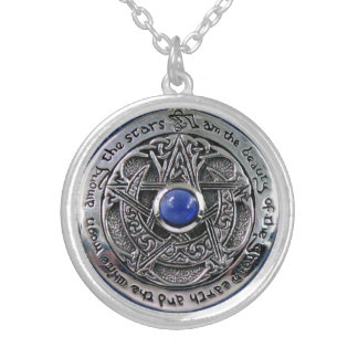 MOON AMONG THE STARS ROUND PENDANT NECKLACE
