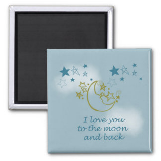 Moon and Back 2 Inch Square Magnet