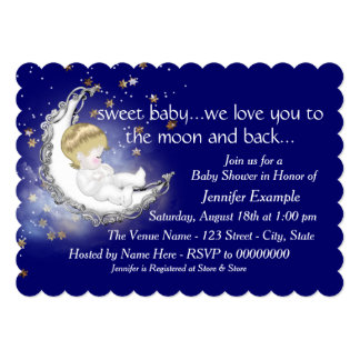Moon and Back Baby Shower Card