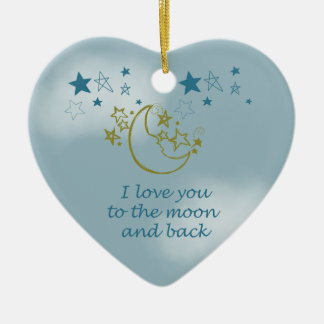 Moon and Back Double-Sided Heart Ceramic Christmas Ornament