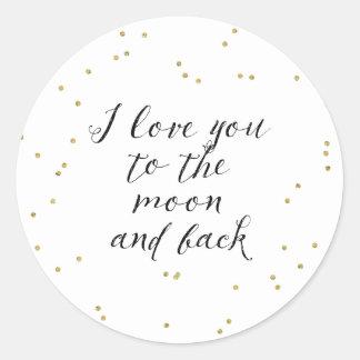 Moon and Back Gold Confetti Classic Round Sticker