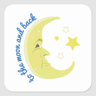 Moon And Back Square Stickers
