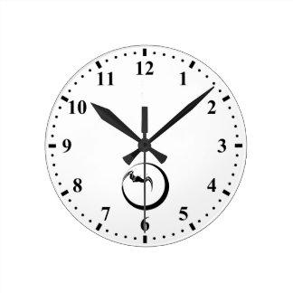 Moon and Bat Round Clock