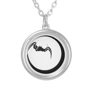 Moon and Bat Round Pendant Necklace