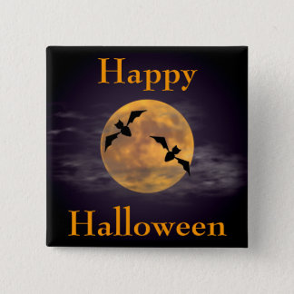 Moon and Bats Button
