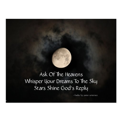 Moon and Clouds Haiku Postcard