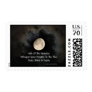 Moon And Clouds Modern Haiku Postage Stamps