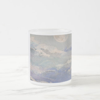 Moon and Clouds 10 Oz Frosted Glass Coffee Mug