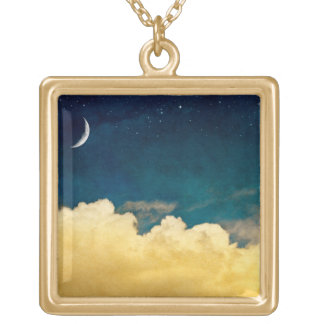 Moon And Cloudscape Gold Plated Necklace