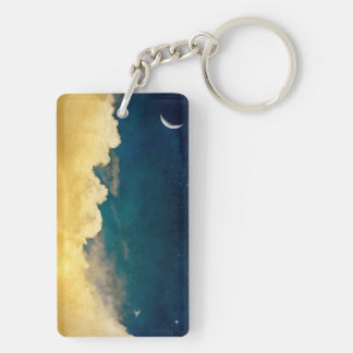 Moon And Cloudscape Keychain