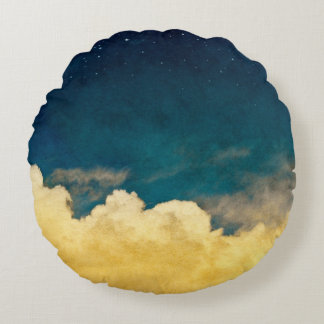 Moon And Cloudscape Round Pillow