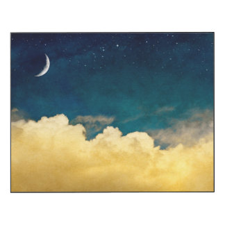 Moon And Cloudscape Wood Print