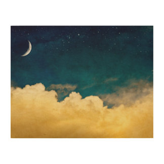 Moon And Cloudscape Wood Wall Art
