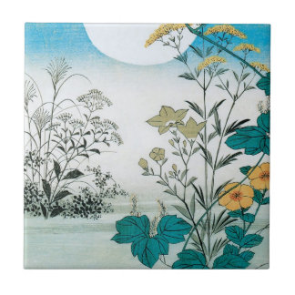 Moon and Flowers Ceramic Tile