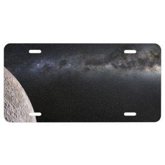 Moon and Galaxy. License Plate