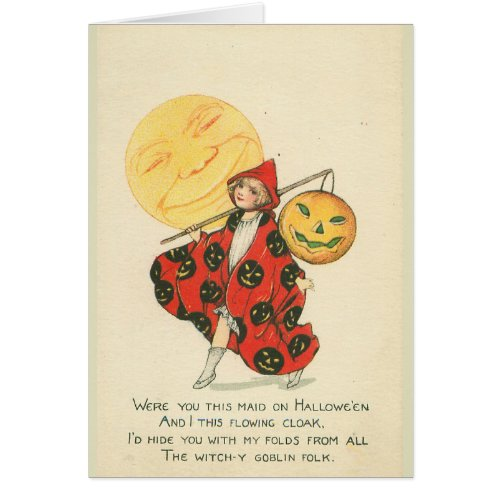 Moon and Girl in Halloween Costume Card