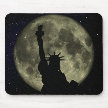 USA Themed Moon and Lady Liberty Mouse Pad