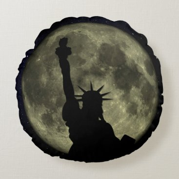 USA Themed Moon and Lady Liberty Round Pillow