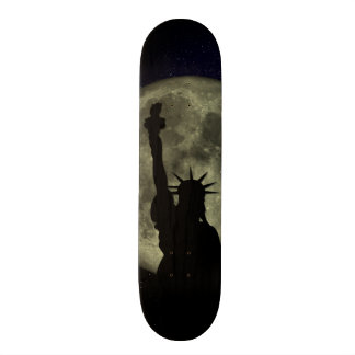 Moon and Lady Liberty Skateboard