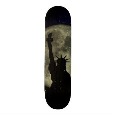 USA Themed Moon and Lady Liberty Skateboard