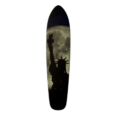 USA Themed Moon and Lady Liberty Skateboard Deck