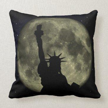 USA Themed Moon and Lady Liberty Throw Pillow