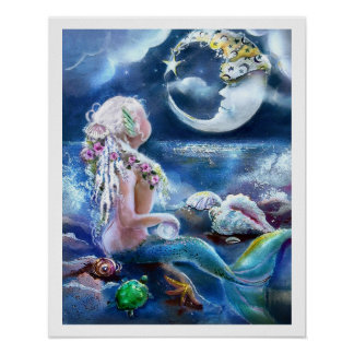 Moon and Mermaid Poster