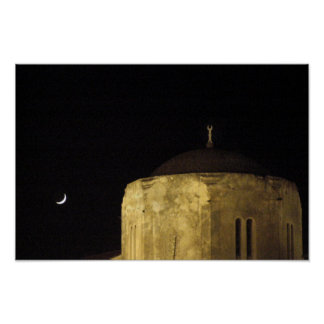 Moon and Mosque Poster