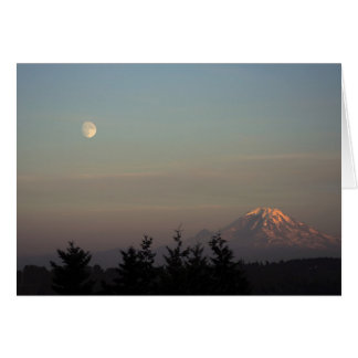 Moon and Mount Ranier at  Greeting Card