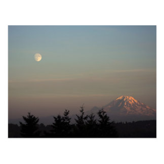 Moon and Mount Ranier at  Postcard