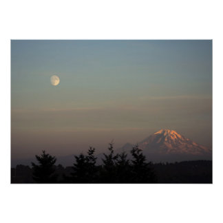 Moon and Mount Ranier at  Poster