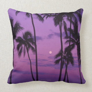 Moon and Palm Tree Throw Pillow