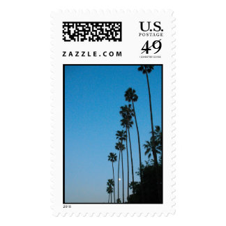 moon and palm tree postage