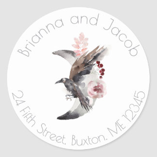 Moon And Raven Watercolor Address Label