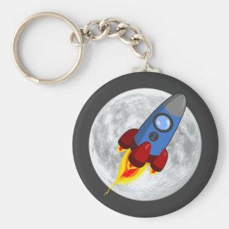 Moon and Rocket Keychain (keyring)