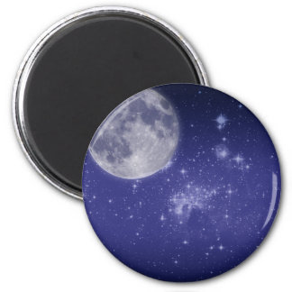 Moon and Shining Stars 2 Inch Round Magnet