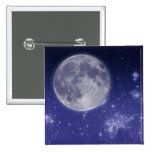 Moon and Shining Stars 2 Inch Square Button