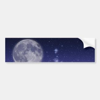 Moon and Shining Stars Car Bumper Sticker