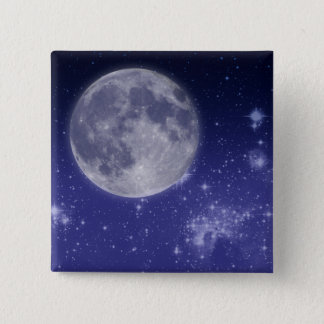 Moon and Shining Stars Pinback Button
