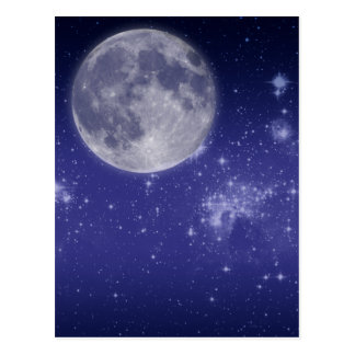 Moon and Shining Stars Postcard