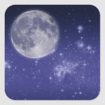 Moon and Shining Stars Square Stickers