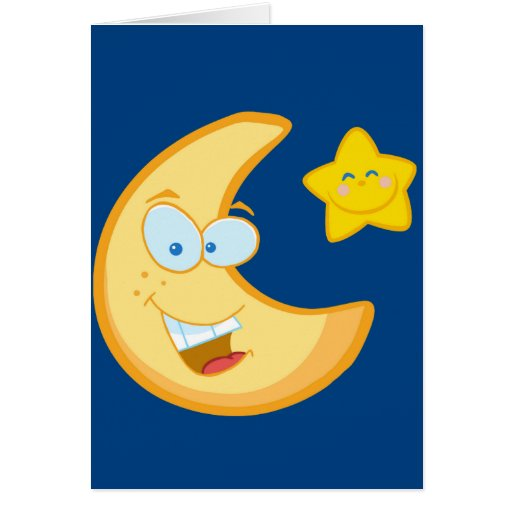 Moon and smiling star card