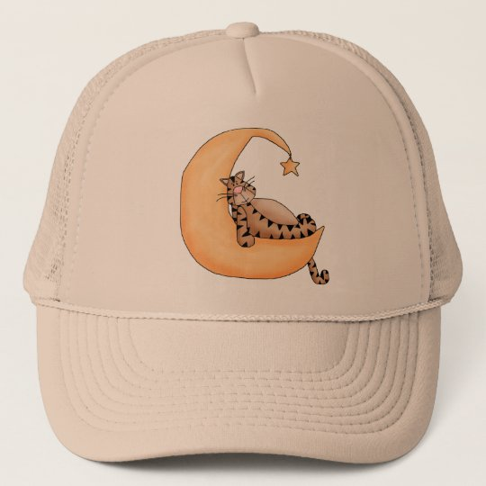 Moon and Star Cat Trucker Hat