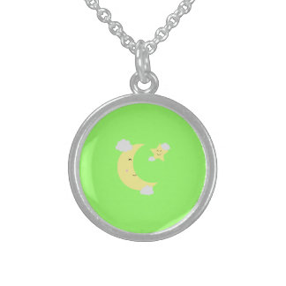 Moon and Star Round Pendant Necklace