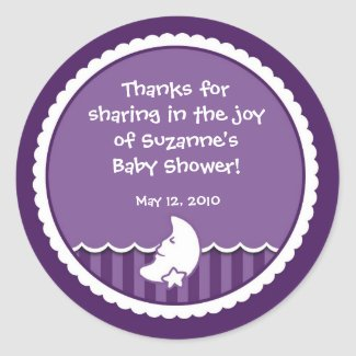 Moon and Star Sticker for Baby Shower favor sticker